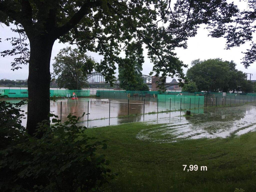 Tennisplätze bei Wasserstand 7,99 m